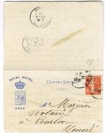 CARTE-LETTRE A EN-TETE ROYAL HOTEL ORAN - Marcophilie (Lettres)