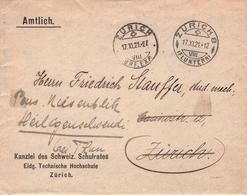 SCHWEIZ - DIENSTBRIEF 1921 ZÜRICH - Officials