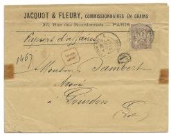 ENVELOPPE 30c SAGE / PARIS RUE DES HALLES  / 1881 / RECOMMANDE POUR GONDRON LOT - Marcofilia (sobres)