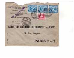 Lettre1934 Egypte Alexandrie Alexandria Destination France CNEP 4 Timbres Dont Bande De 3 Attachée Attaché - Egypt