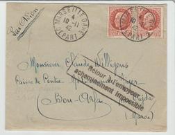 B Du R: LAC De Marseille Gare De 1942 Avec Surtaxe Aérienne Pour Bou Arfa + Acheminement Impossible TTB - Guerre De 1939-45