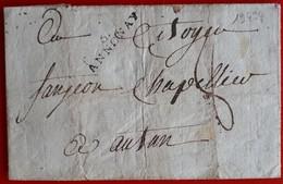 19494# ARDECHE LETTRE Obl 6. ANNONAY An VIII 1800 28x7mm Pour AUTUN Cote 30€ - Marcophilie (Lettres)