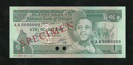 ETHIOPIA 1 BIRR ND (1991) EE 1969 SPECIMEN PERFORATION PICK #41s GEM UNC - Specimen