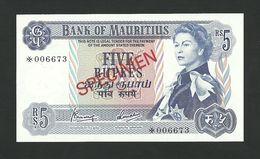 Mauritius 5 Rupees ND (1967) SPECIMEN * Queen Elizabeth II * P-30c UNC - Fictifs & Spécimens