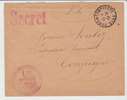 """OISE: """" Commission De Réseau Du Nord """" + Griffe SECRET / LSC De Gare De Lagny De 1917 TB - Marcofilia (sobres)"""