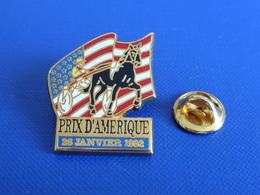 Pin's Sport Hippique Hippisme - Prix D'Amérique 28 Janvier 1992 - Hippodrome - Trot Attelé - Cheval (PF21) - Badges