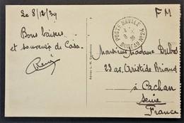 Oblitération POSTE NAVALE BUREAU N°24 Sur CP En Franchise Militaire De CASABLANCA Décembre 1939 Vers Cachan - Marcophilie (Lettres)