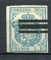 1854 - Yv. N° 33  ANNULE  1r  Bleu Pâle  Armoirie  Papier Azuré  Cote 120 Euro BE  2 Scans - 1850-68 Kingdom: Isabella II