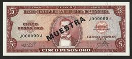 DOMINICAN REPUBLIC 5 PESO ORO 1964 SPECIMEN PICK-100s4 SUPERB UNC - Fictifs & Spécimens