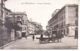 ITALIA - CIVITAVECCHIA - Piazza Plebiscito, Animata, Viag. 1917 Timbro C.R. - 2018 - 484 - Civitavecchia
