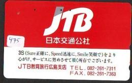 Télécarte Japon * JTB * (475) * PHONECARD JAPAN * TELEFONKARTE * - Advertising