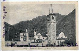 - BANNIO - Piazza Della Chiesa E Albergo Della Pace - Peu Courante, écrite, 1934, épaisse, TBE, Scans. - Verbania