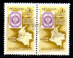 COLOMBIE. PA 344 De 1959 Oblitéré. Timbre Sur Timbre. - Stamps On Stamps