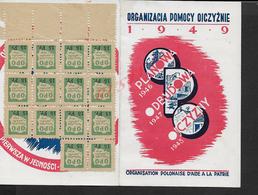 MILITARIA CARTE SUR TIMBRES ORGANISATION POLONAISE D AIDE A LA PATRIE ( POLOGNE ) 1949 TAMPON BRÉGY : : - Cartes