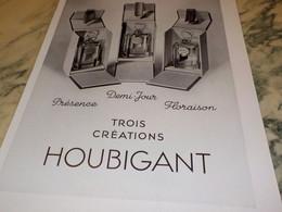 ANCIENNE PUBLICITE PARFUM 3 CREATIONS DE HOUBIGANT 1938 - Perfume & Beauty