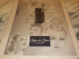 ANCIENNE PUBLICITE PARFUM CREPE DE CHINE DE F.MILLOT 1938 - Parfums & Beauté