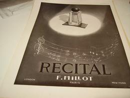 ANCIENNE PUBLICITE PARFUM RECITAL DE F.MILLOT 1938 - Parfums & Beauté