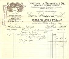 FACTURE 1916 GROSS POILEVÉ 79 RUE DU TEMPLE PARIS 3 ème - JOALLERIE MÉDAILLES RELIGIEUSES HAUSSE DE L'OR - AURILLAC - Francia