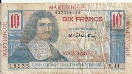 MARTINIQUE 10 FRANCS ND1947-49 VG++ P 28 - Billets
