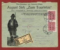 Infla  Ab 1 Feb 1921 Reco Brief Wien - Dresden Zensuriert Dresden; 2 Scan - Briefe U. Dokumente