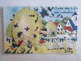 03 Allier Vichy Carte à Système Complet Illustrateur Monier Couchés Dans Le Foin Oie - Vichy