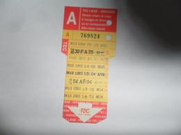 ANCIENNE CARTE DE  BUS  / 8 VOYAGES TEC  LIEGE  VERVIERS - Titres De Transport