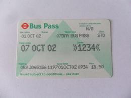 ANCIENNE CARTE DE  BUS  / 7 JOURS / LONDRES - Titres De Transport