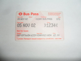 ANCIENNE CARTE DE  BUS  / 1 JOURS / LONDRES - Unclassified