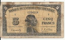 AFRIQUE OCCIDENTALE 5 FRANCS 1942 VG+ P 28 - Billets