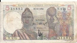 AFRIQUE OCCIDENTALE 5 FRANCS 1953 VF P 36 - Billets