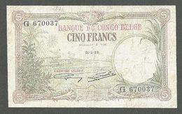 BELGIAN CONGO 5 FRANCS 1929 P-8e VF - [ 5] Belgian Congo