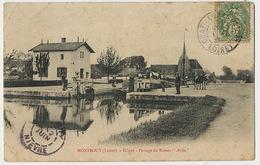 """Montbouy Ecluse Passage Du Bateau """" Attila """" Peniche  Defauts Plis Coin Sup. Gauche . Halage Chevaux - Frankreich"""
