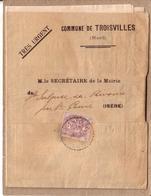 NORD , ISERE  - DOCUMENTS DE LA COMMUNE DE TROISVILLES A LA MAIRIE DE SAINT GEOIRE EN VALDAINE , TIMBRE TYPE BLANC 2 C - Cartas