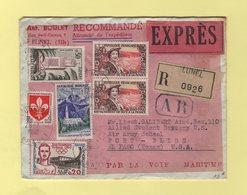 Recommande Expres Destination USA - Lunel Herault - 28-7-1960 - Arrivee A El Paso Le 12-8-1960 - 1961-....