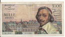 FRANCE 1000 FRANCS 1956 VF+ P 134 A - 1871-1952 Anciens Francs Circulés Au XXème