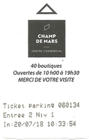 Ticket De Parking Souterrain : Angoulême Champ De Mars Centre Commercal  (avant Paiement) -  20-07-2018 - Titres De Transport