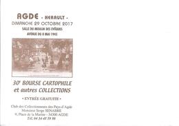 Enveloppe - Agde - 30e Bourse Cartophile Et Autres Collections - 29 Octobre 2017 - Other Collections