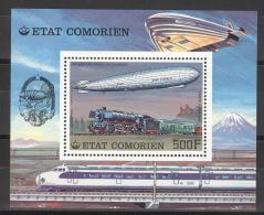 Komoren Block 83A ** Postfrisch Luftschiffe Und Eisenbahnen - Komoren (1975-...)