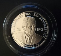 """MALTA 2 LIRI POUND 1989 SILVER PROOF """"25th Anniversary Of Independence"""" Free Shipping Via Registered Air Mail - Malta"""