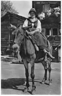 COSTUME VALAISAN → Trachtenfrau/Bäuerin Auf Dem Maultier Anno 1964 - VS Wallis
