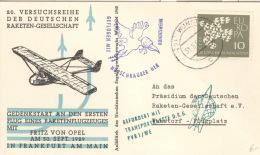 Raketenpostbeleg Frankfurt 1962 - BRD