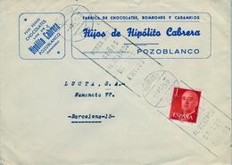 1960 , CÓRDOBA , SOBRE COMERCIAL CIRCULADO , FÁBRICA DE CHOCOLATES , BOMBONES Y CARAMELOS - POZOBLANCO - 1931-Hoy: 2ª República - ... Juan Carlos I