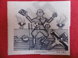 WW2 PROPAGANDE DESSIN HITLER L ANTECHRIST ISSU JOURNAL MARIANNE SIGNE ELKINS  13 X 11.5 C M - Documentos Históricos