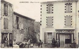 04 CORBIERES  Place Centrale, Café Clement - Francia