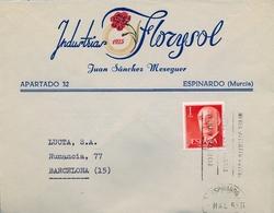 1965 , MURCIA , SOBRE COMERCIAL CIRCULADO , INDUSTRIAS FLORYSOL - ESPINARDO - 1931-Today: 2nd Rep - ... Juan Carlos I
