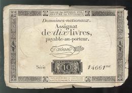 Assignat De Dix Livres / 10 Livres - Créé Le 24 Octobre 1792 - Faux D'Epoque - Assegnati