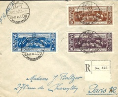 26-12-1936-Reg.  Cover From   Bab El Lûq  Fr. Y & T N°184 à 186 ( First Day Cover ? )  Anglo-Egyptian Treaty  To Paris - Egypt