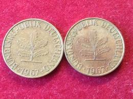 Münzen 2 Mal BRD 5 Deutsche Pfennig 1967 G Jaeger 382 - [ 7] 1949-…: BRD