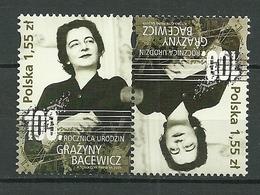POLAND MNH ** 4156 Tête Bêche MUSIQUE GRAZYNA BACEWICZ Musicien Violoniste Violon - 1944-.... République