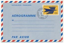"""FRANCE => Aérogramme 1,15 F Logo De La Poste Oblitéré """"Service Philatélique Des P.T.T. Paris"""" 1971 - Entiers Postaux"""